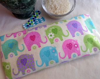 Boo Boo Bag with removable cover / Hot Cold Therapy Rice Pack / Ready to ship / Sleepy Elephants
