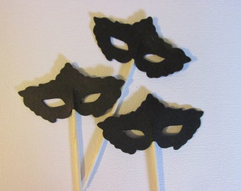 12 Masquerade mask cupcake toppers, Mask food picks,  cupcake toppers