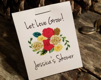 Personalized MINI Flower Seeds Floral Reds Golds Fall Winter Christmas Bridal Shower Favors Wedding  Favors Flower Seed Packets Seed Favors