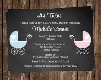 Baby Shower Invitations, Chalkboard, Twins, Pink, Blue, Rustic, Baby Carriage, Stroller, Baby Buggy, Hearts, Lace, 10 Printed Invites