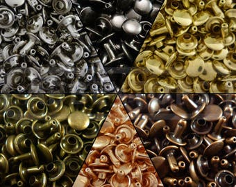 Double Cap Rivets 6x5 7x7 9x8 & 9x12 Stud Rapid Rivets Leather Craft Repair x100