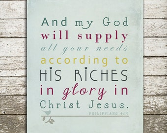 Bible Verse Wall Art - And My God Will Supply All Your Needs - Philippians 4:19 - Gift Print