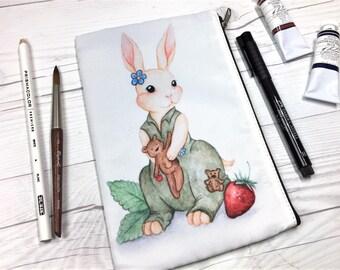 Kaylee Bunny Zipper Pouch, Firefly Watercolor, Teddy Bear, Rabbit, Zipper Pouch, Cosmetic Bag, Travel Pouch, Art Pouch, Art Supply Pouch