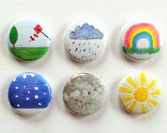 Watercolour Weather Flair Buttons, Weather Scrapbooking Flair Badges, Pocket Scrapbooking, Weather Crafts, Watercolour Flair, Cardmaking