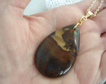 FINAL SALE Sonora Hill Jasper and Gold Teardrop Pendant Necklace Nature Inspired Coffee Au Lait