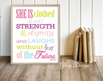 Printable, Scripture printable, Bible Verse, Scripture Art, Wall Art, Proverbs 31:25, Christian Typography, Digital Printable File 300 dpi