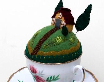 Teacup Pincushion Tiny World House on a hill tropical flowers