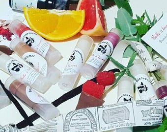 Handmade natural organic tinted lip balms