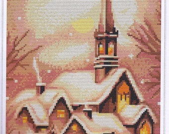 SNOWY WINTER CHURCH-Luca-s Counted Cross Stitch Kit-Hard to Find