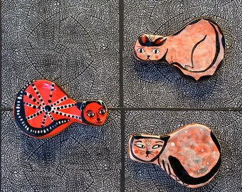 Three Cat Refrigerator Magnets by Jenny Mendes
