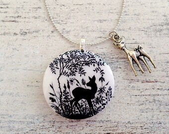 Papercut Deer Bambi fairy tale forest wood handmade pendant