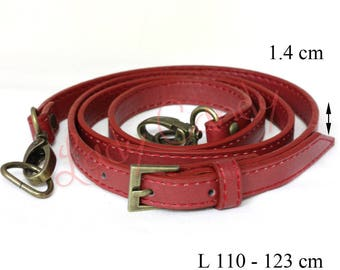Red faux leather adjustable length #330068 bag handle