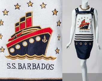 80s Side Effects S.S. Barbados nautical resort sleeveless dress | size small-medium