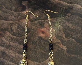 Black Onyx and Gold Buddha Earrings