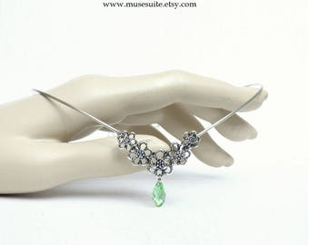 Elf crown in silver with swarovski elements light green - Elven tiara - Celtic circlet
