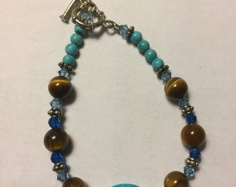 Turquoise, tiger eye, swarovski crystal & sterling silver bracelet