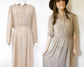 White & Tan Collared Dress