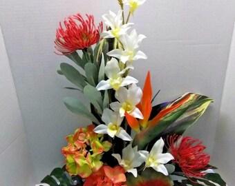 Tropical silk flower floral arrangement centerpiece