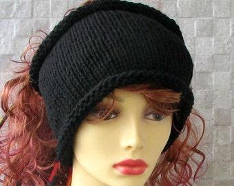 Hand Knit headband Mens headwrap Black dreadlock tube Mens dread band Dread Wrap Gift For Him