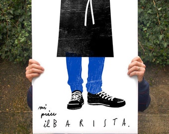 "Barista Poster print  20""x27"" - archival fine art giclée print"