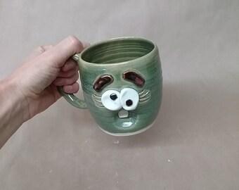 Ug Chug Forgetful Woman Coffee Cups and Mugs. Funny Blue Face Mug for Her. Stressed Woman Coffee Tea Lover Original Gifts. Handmade Pottery