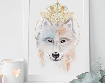 Print 21 x 30 A4 • Illustration Wolf totem • Animal totem Wolf High quality 220gr Watercolor illustration Design • • •