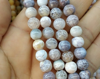 Matte White Camel Brown Agate,Matte White Brown stone 8mm Round Beads- 47pcs/Strand