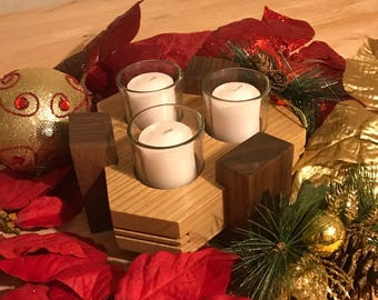Walnut and Oak Candle Holder and Votive Candles