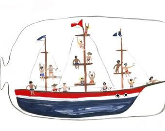 Booze Cruise in a Bottle Illustration