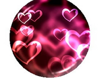 30mm hearts on pink marbled background