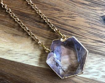 Astris/// Simple Small Amethyst Hexagon Rolo Chain Statement Necklace/ Natural Purple Amethyst Gemstone Mineral Stone Gem (DEJ-SOV11-AM)