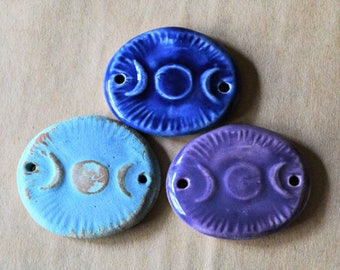 3 Handmade Ceramic Beads - Triple Goddess Beads - 2 Holed Bracelet Beads - Link Connector Beads in Blues and Lavender - Moon Phase Beads