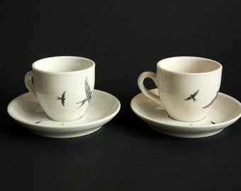 Espresso cups (Set of 2) Swallows, Screenprint, black and white, espresso tableware, nature print, tableware