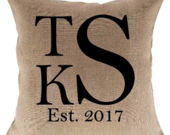 18 inch Monogram Jute Pillow Cover