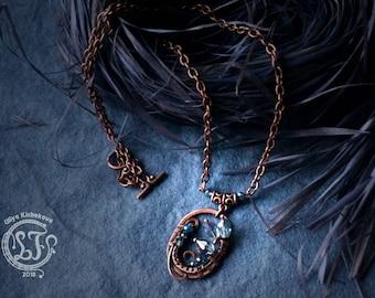 wrapped necklace, wire wrap, copper jewelry, wire wrap pendant, wire wrapped jewelry, wire wrapped pendant, wire pendant, Unique necklace