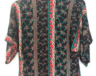 Vintage 70s Bohemian Rayon Floral Cherry Blossom Kimono Open Front Jacket, Cropped Kimono Jacket, Size XS Size Small