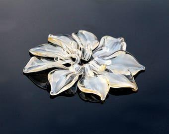 Lampwork Creme Ivory Leaf 17mm,  Glass Handmade Artisan Lampwork  Bead,  SRA