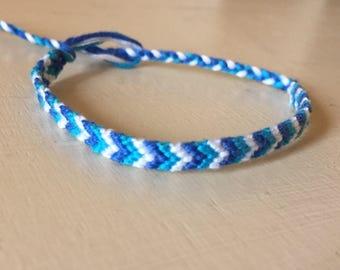 Blue Friendship Bracelet, Embroidery Floss bracelet
