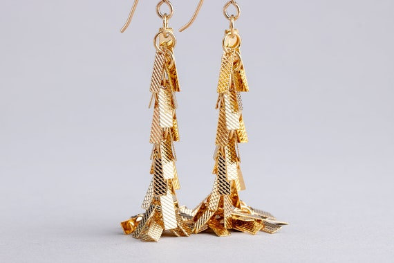 Textured Gold Tassel Fringe Cluster Earrings - Long Gold Dangle Earrings - Long Gold Shoulder Duster Chain Earrings - Gold Bar Earrings