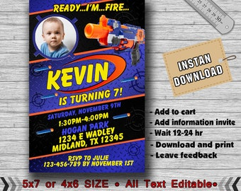 Nerf Invitation, Nerf Birthday, Nerf Birthday Invitation, Nerf Party, Nerf Invite, Nerf Party Invite, Nerf Birthday Party, Nerf-F1235