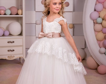 Ivory Flower Girl Dress - Birthday Wedding Party Holiday Bridesmaid Ivory Lace Tulle Flower Girl Dress 14-689