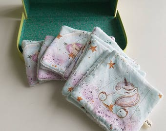 Washable wipes - baby wipes - unicorns pattern