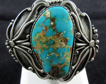 Navajo~MARK YAZZIE~Gem Quality Royston Turquoise~ 925 Stunning Huge Ring SZ. 8-3/4