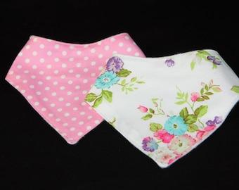 Bandana Bib Set- Pink Flower Polka Dot