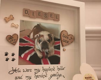You were my happiest hello and my hardest goodbye - Pet Frame - Pet Memorial - Pet Loss - Personalised Pet Frame - Scrabble Frame