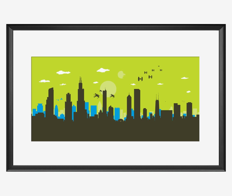 Chicago Skyline Print Star Wars inspired art Chicago poster