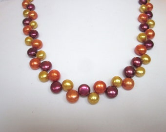 Burgundy/Gold/Orange Pearl Necklace of Zig Zag, Top-Drilled, Button, Fresh Water Cultured Pearls, Wedding, Bride, Prom, Bridal, SRAJD