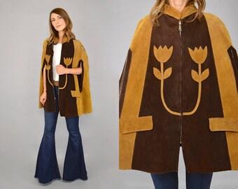 70's Leather Hippie Cape