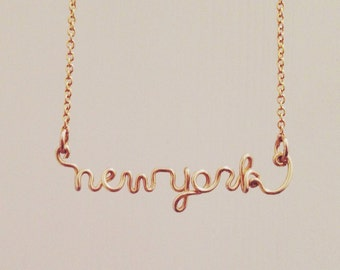 Personalized Gold Wire Necklace | Name Wire Necklace | Initials Wire Necklace | City Name Wire Necklace