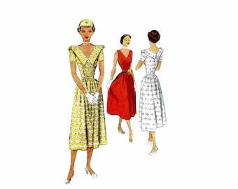 1950s Misses V-Back Flared Dress McCall 7987 Vintage Sewing Pattern Size 12 Bust 30 UNCUT